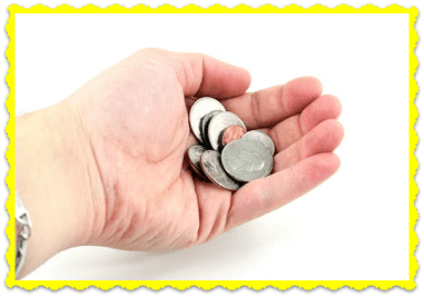 FAQ Can I Pay Not Using Credit Card, Hand holding coins
