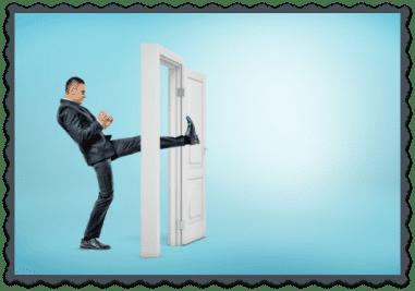 FAQ Man Kicking through Doorway