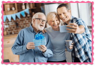 FAQ Man Signs up His Parents. Family taking a selfie