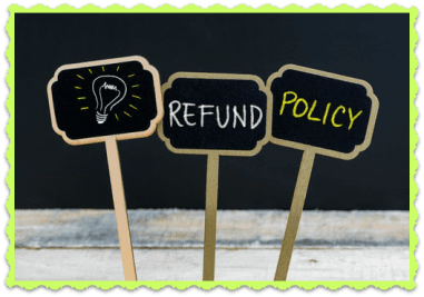 FAQ Refund Policy, sign posts saying Refund Policy
