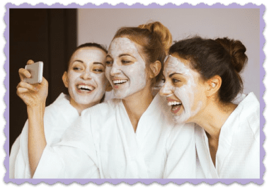FAQ Spa Day, Woman with face masks take selfies at the spa