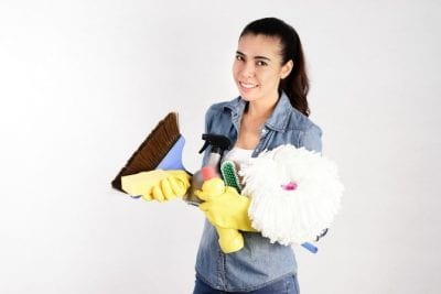 About Savvy Perks, Woman With Cleaning Supplies