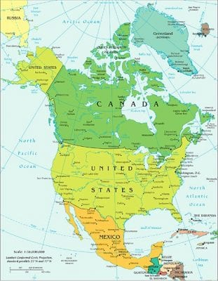 Map of USA and Canada