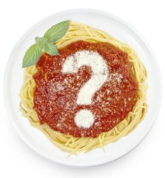 Plate of spaghetti with question mark made of cheese, restaurant deals