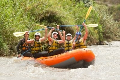 Whitewater rafting - builds teamwork