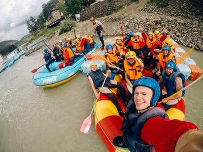 whitewater rafting selfies