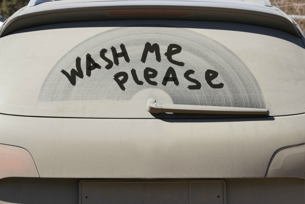 Qucick Quack Car Wash - Dirty Back Window says Wash Me