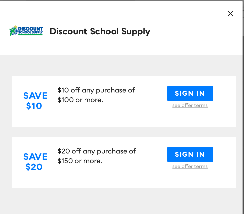 Discount School Supply, Savvy Perks