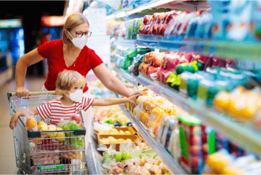 SewCal Masks, Woman in Grocery Store