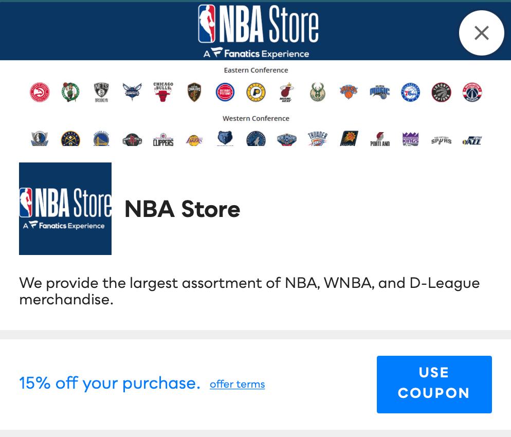 NBA Store Savvy Perks