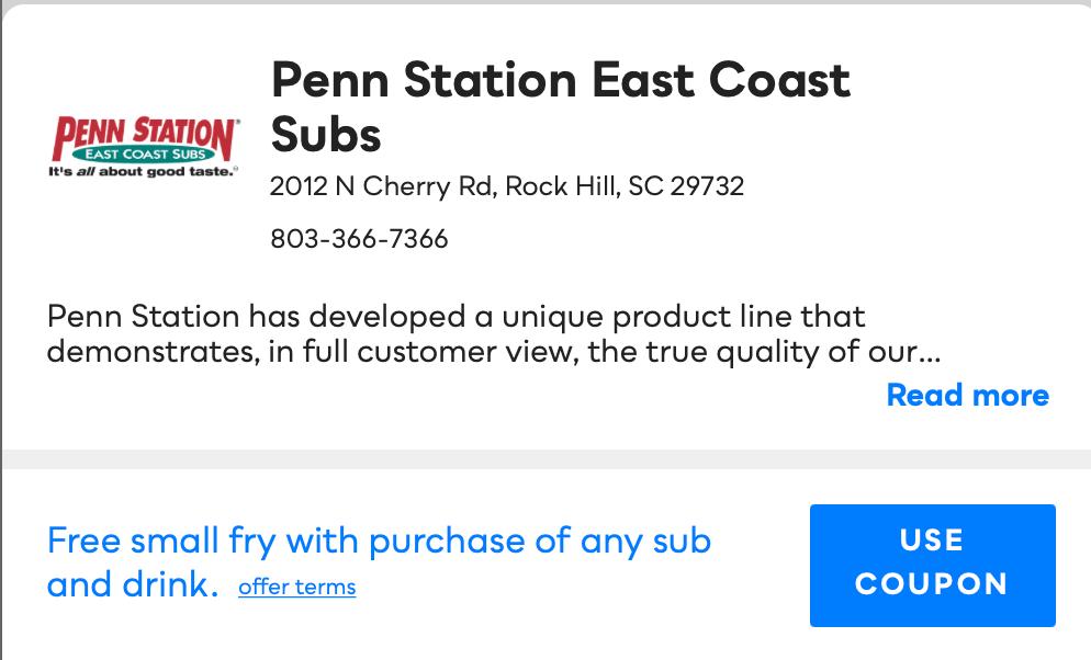 Penn Station East Coast Subs Savvy Perks