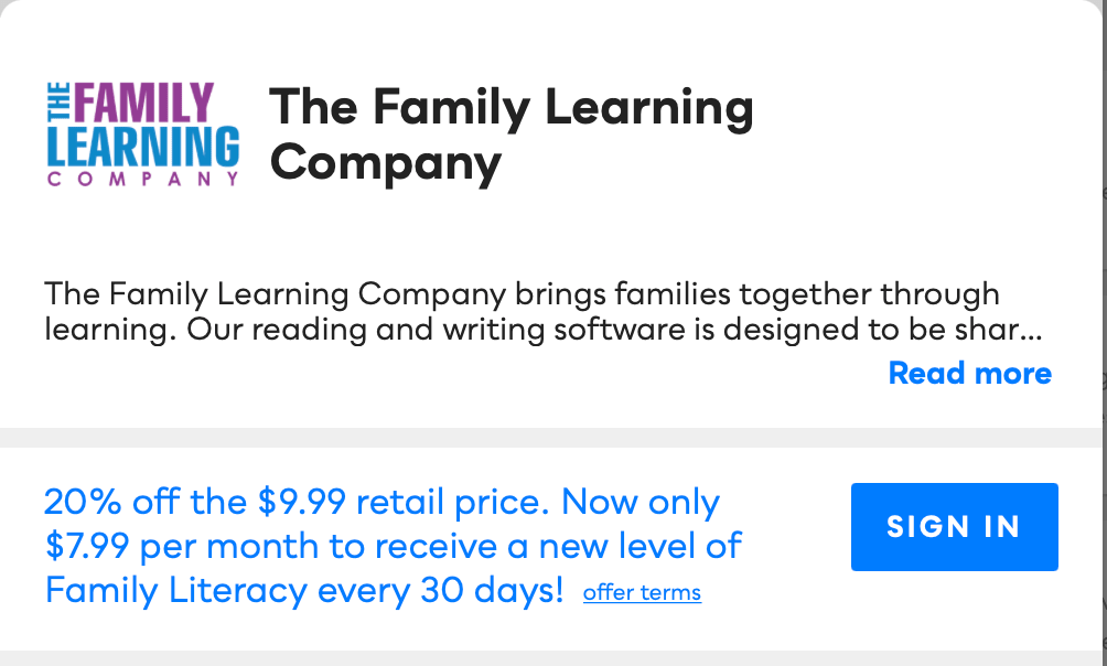 The Family Learning Center Savvy Perks