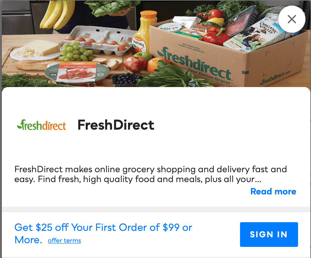 FreshDirect Savvy Perks