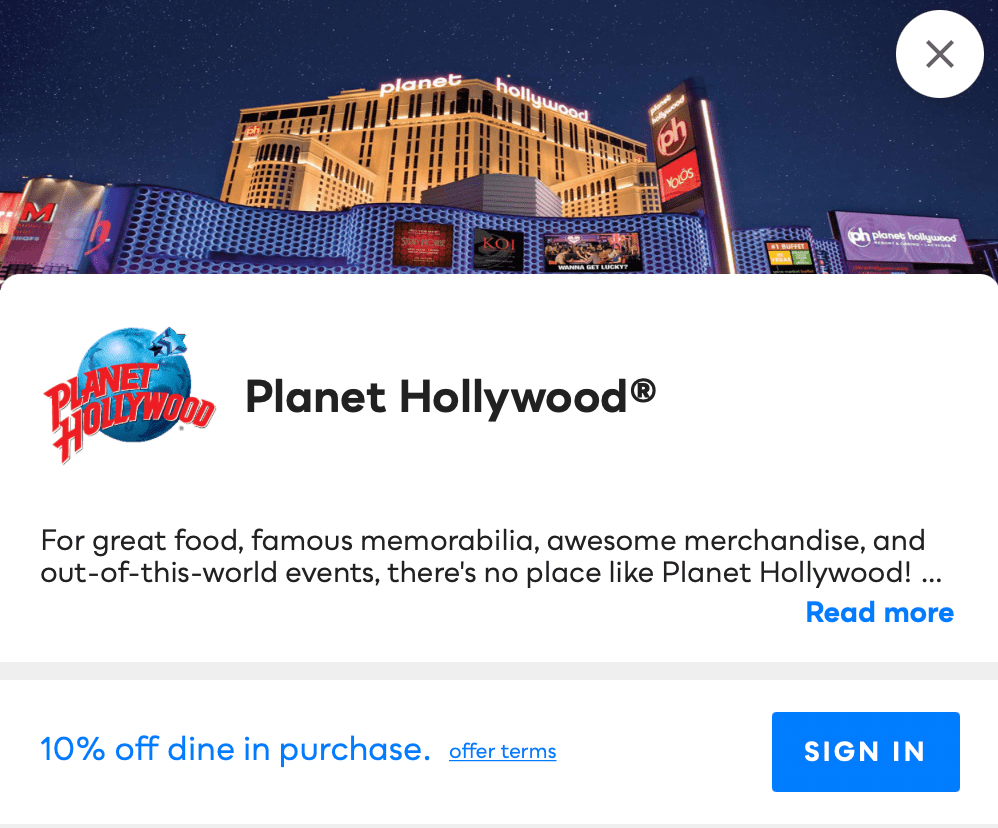 Planet Hollywood Savvy Perks