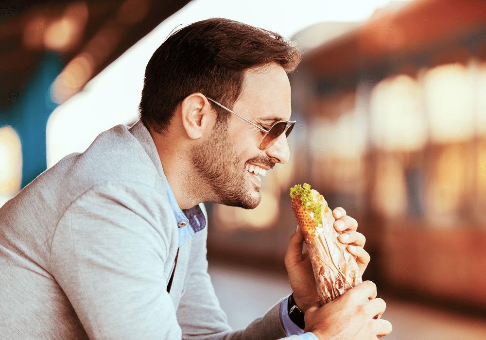Earl of Sandwich Eating Sandwich