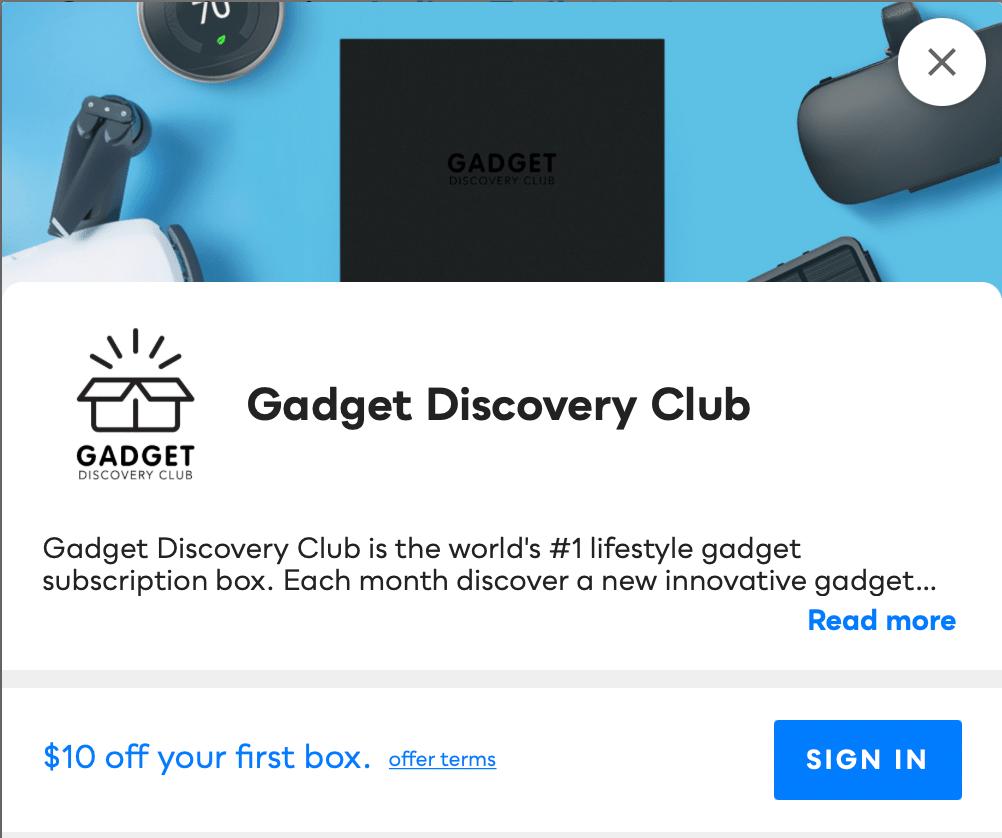 Gadget Discovery Club Savvy Perks