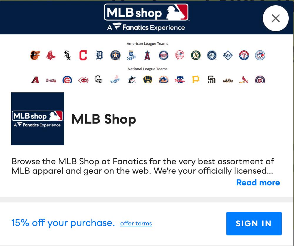 MLB Shop Savvy Perks