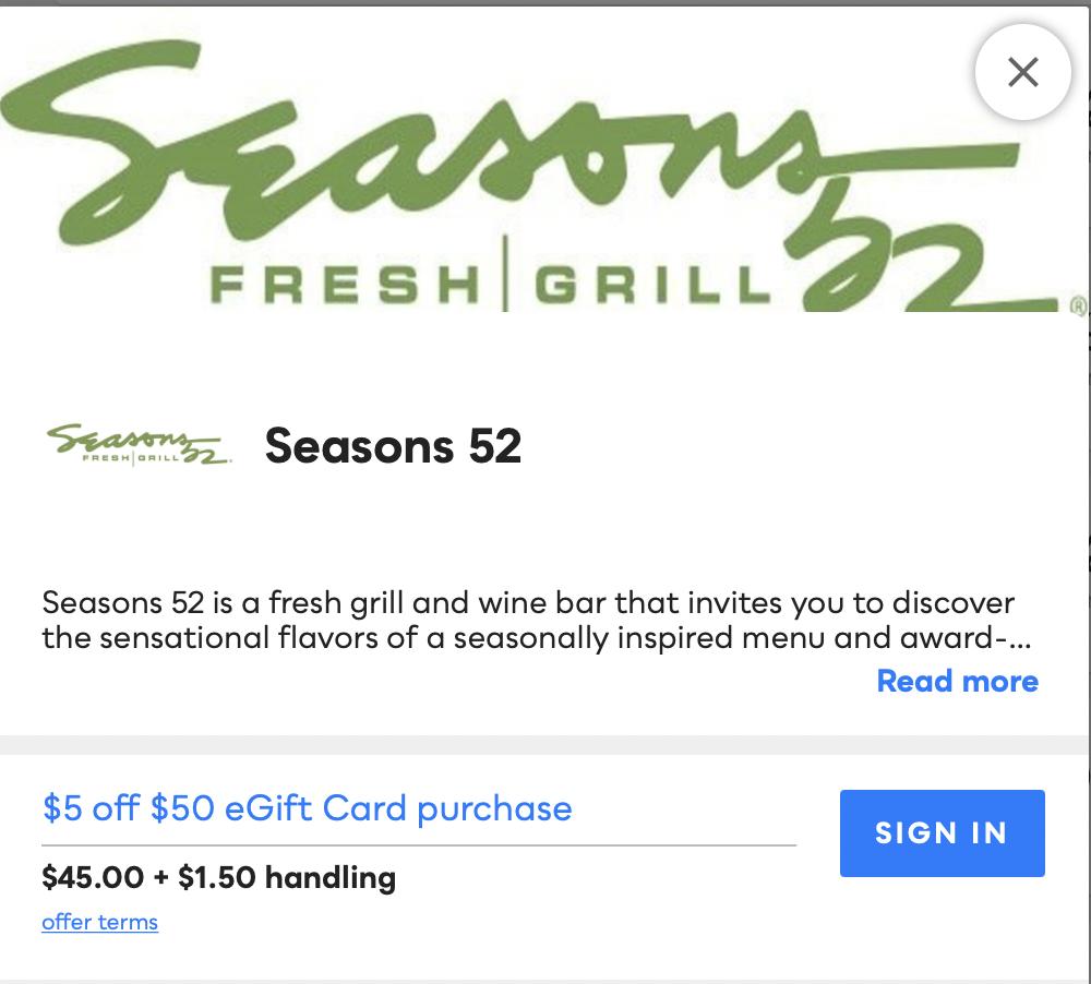 Seasons 52 Savvy Perks