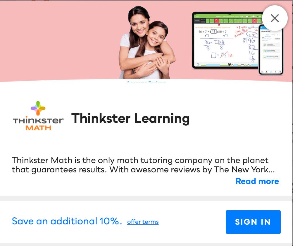 Thinkster Learning Savvy Perks