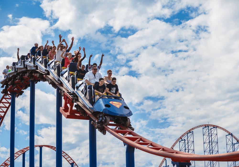 Six Flags Theme Parks Riding Coaster