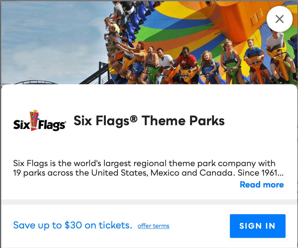 Six Flags Theme Parks Savvy Perks