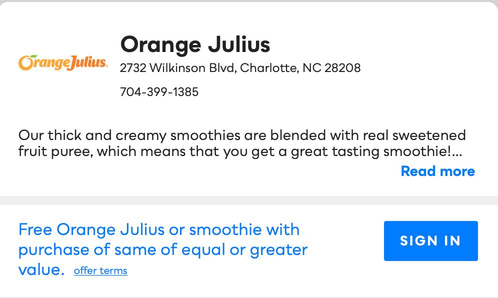 Orange Julius Savvy Perks